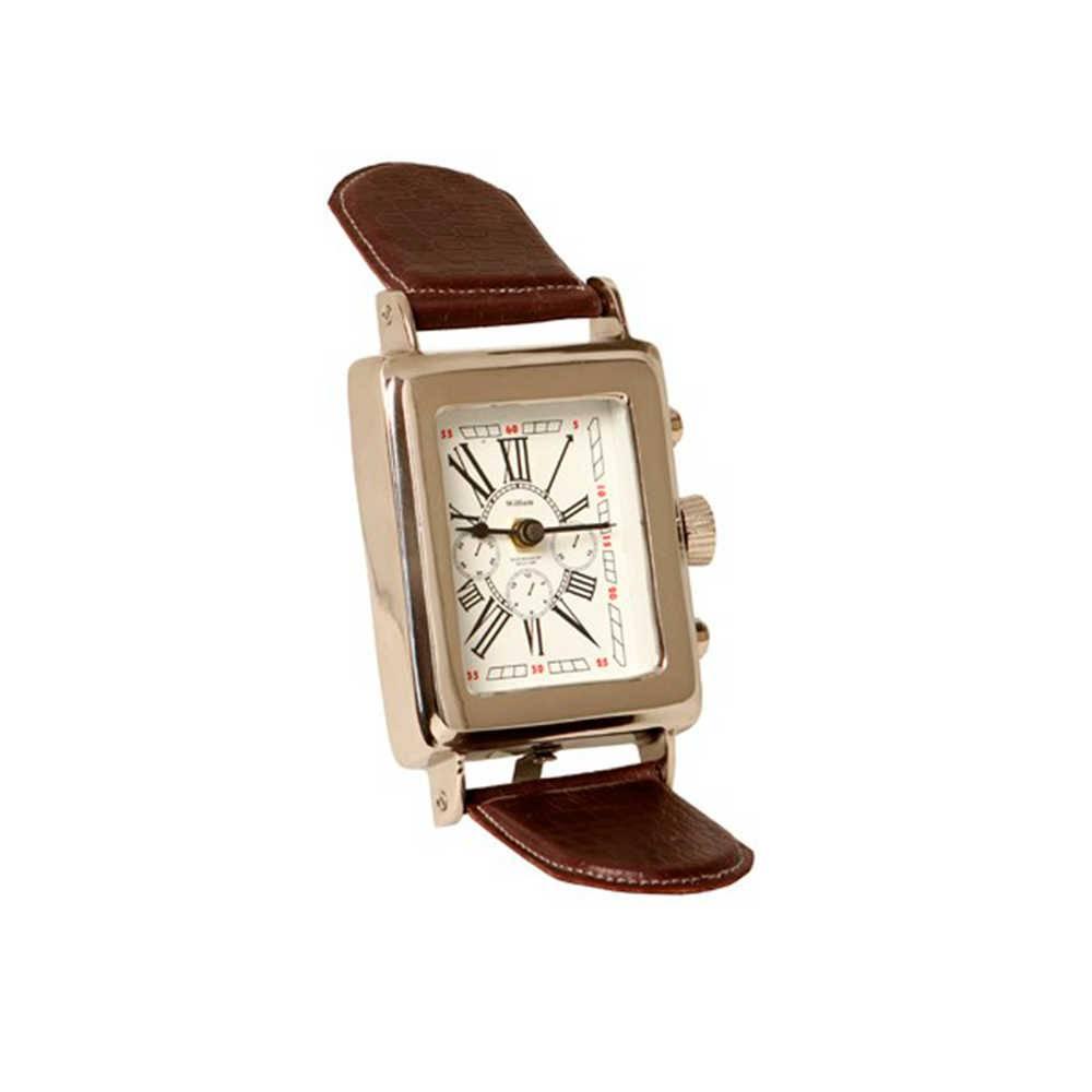 Relógio de Mesa Henlein em Metal com Banho de Níquel e Couro - 34x11 cm