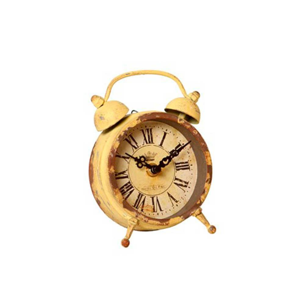 Relógio de Mesa Horologius Amarelo Envelhecido em Metal - 16x12 cm