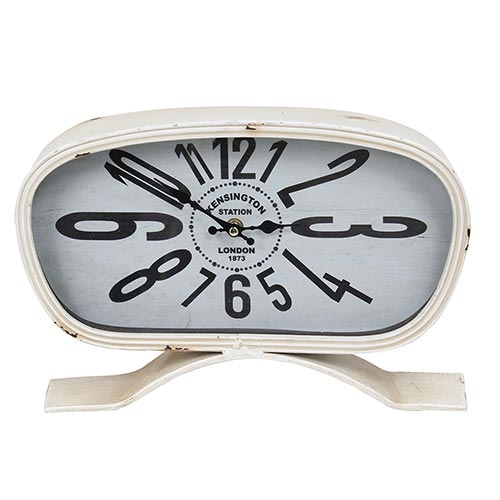 Relógio de Mesa Kensington Retrô Branco Oldway - Metal - 35x24 cm