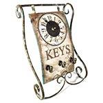Relógio de Mesa Keys c/ Porta Chaves Oldway - Metal - 38x25 cm