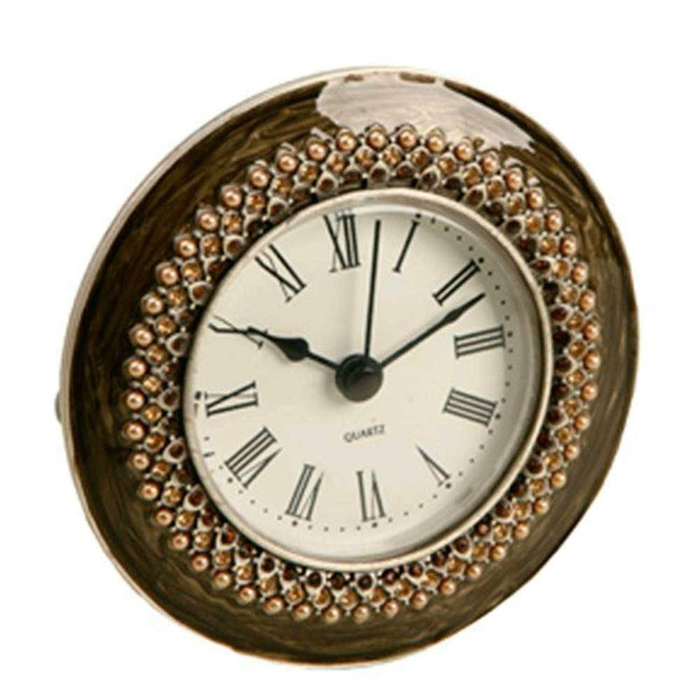Relógio de Mesa Leslie Marrom em Metal e Resina com Pedrarias - 16x11 cm