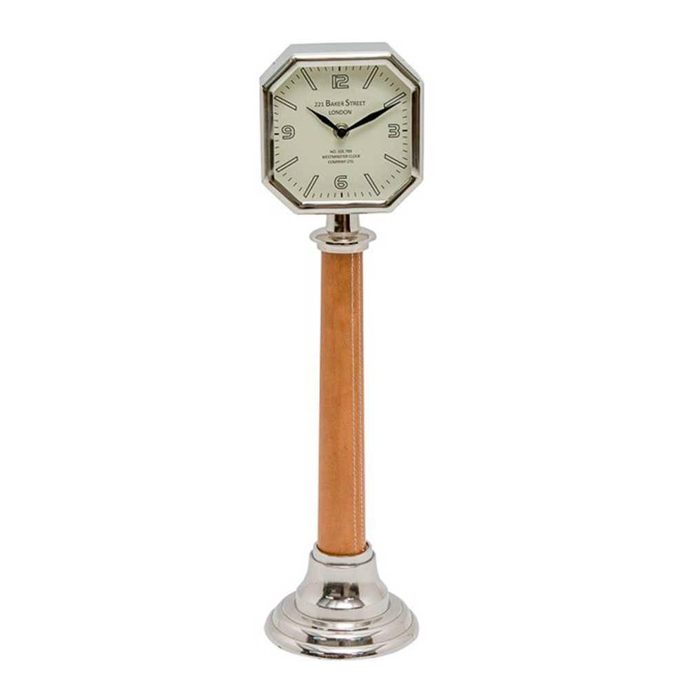 Relógio de Mesa London Marrom e Prata em Metal Cromado e Couro Natural - 52x13 cm