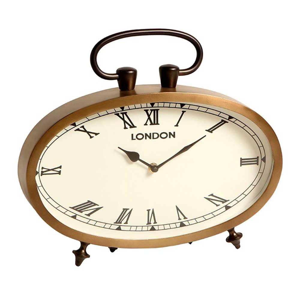 Relógio de Mesa London Números Romanos Dourado em Metal com Banho de Bronze - 36x31 cm