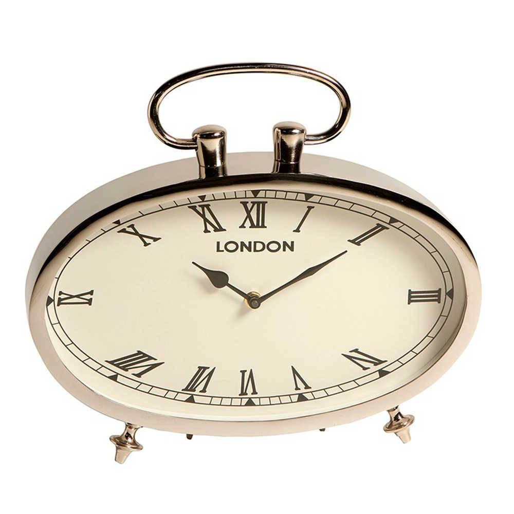 Relógio de Mesa London Números Romanos em Metal com Banho de Níquel - 36x33 cm