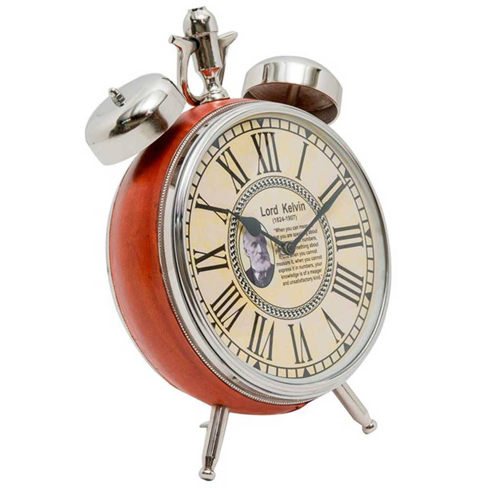 Relógio de Mesa Lord Kelvin Laranja em Couro Natural e Metal Cromado - 31x22 cm