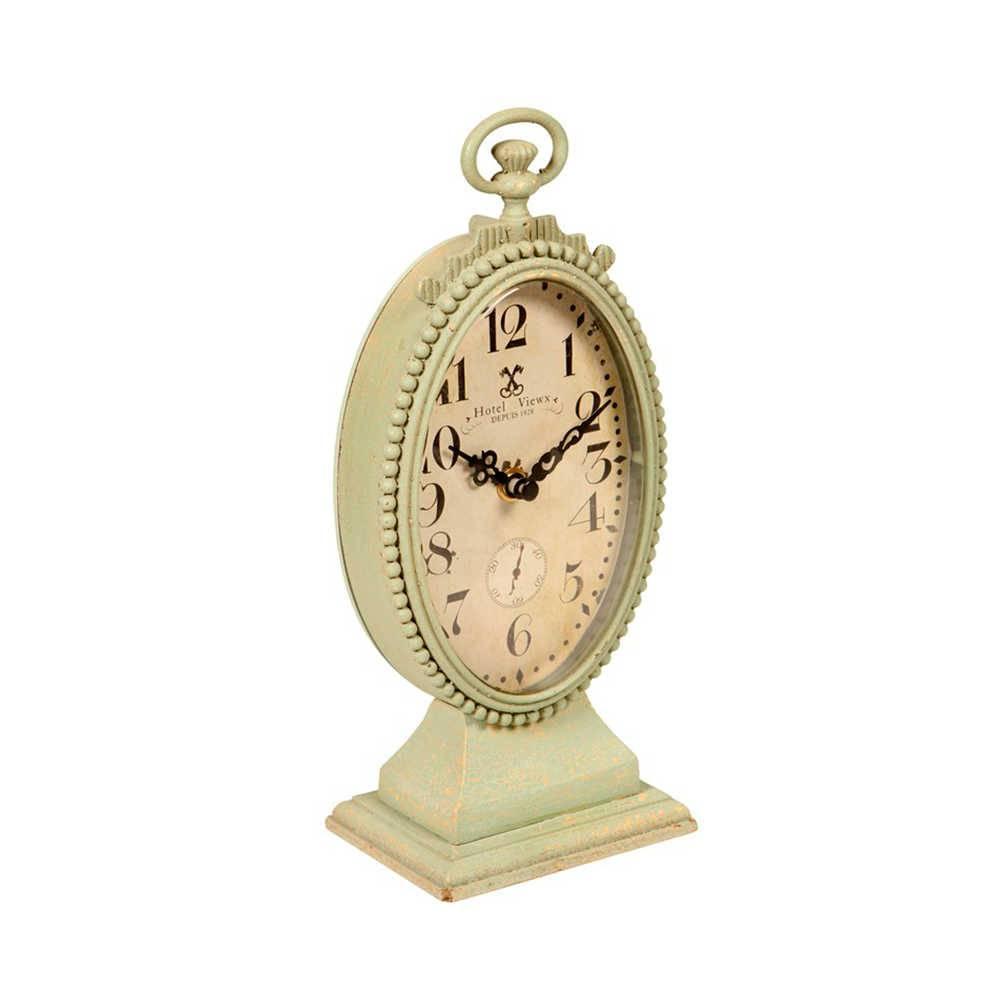 Relógio de Mesa Lumiére Verde Envelhecido em Metal - 26x13 cm