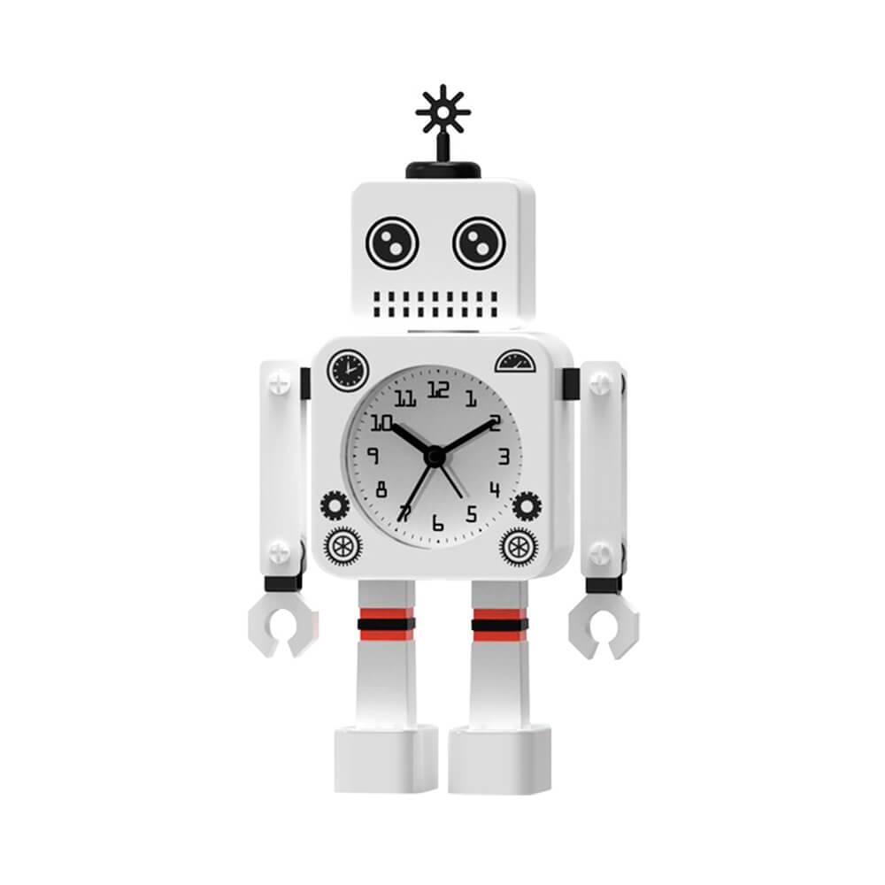 Relógio de Mesa Male Robot Branco em Metal - Urban - 19,6x11 cm