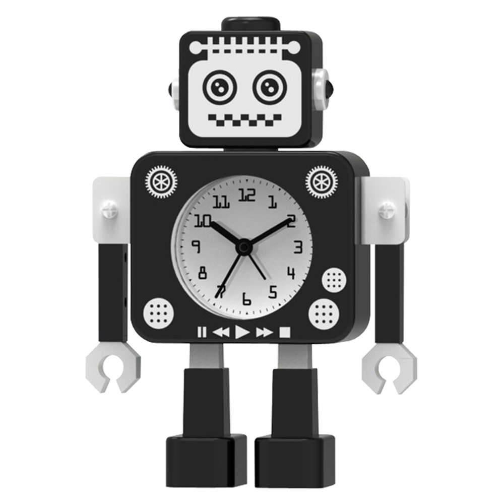 Relógio de Mesa Male Robot Preto em Metal - 16,7x11,8 cm