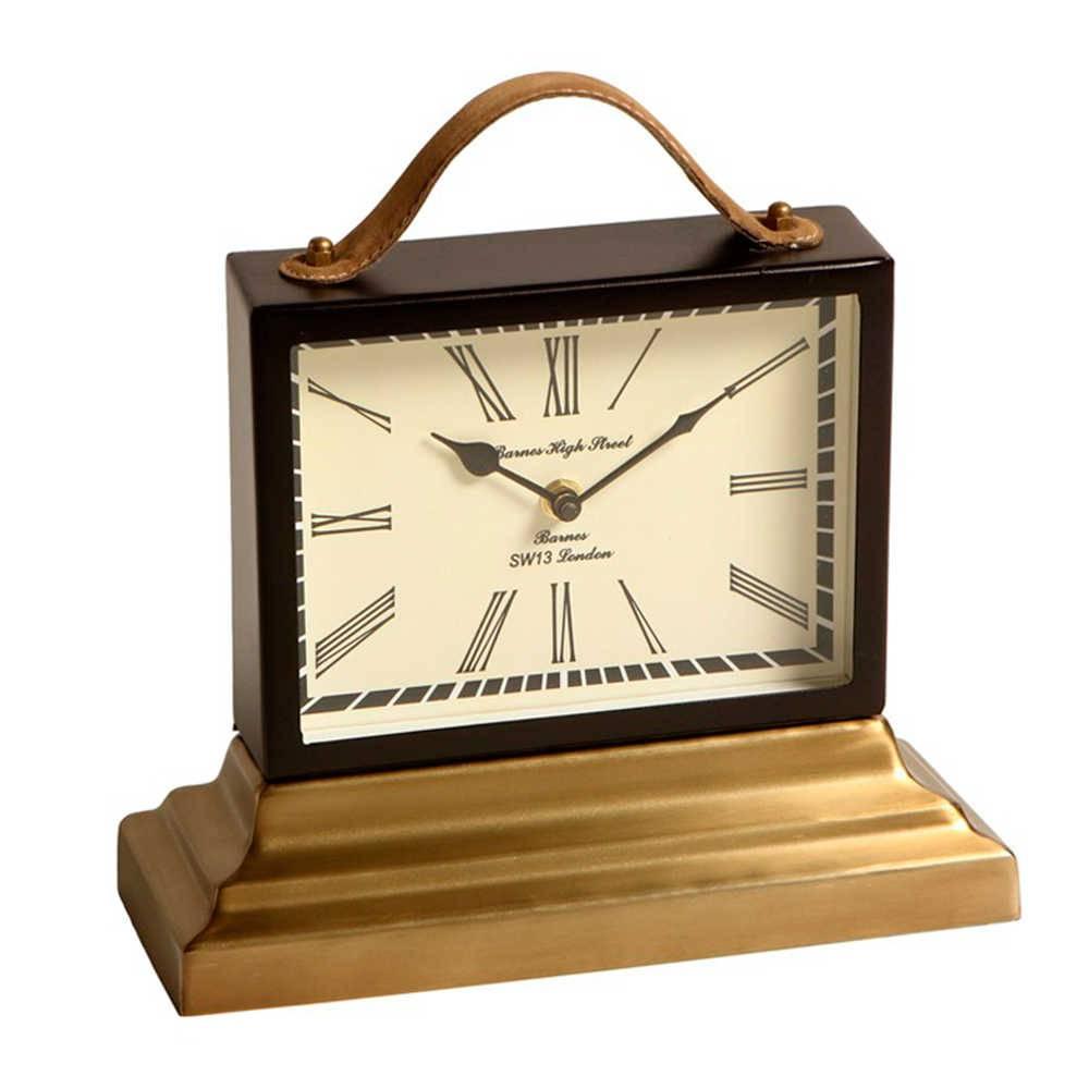 Relógio de Mesa Maleta Romana em Metal com Banho de Bronze e Alça em Couro - 28x27 cm