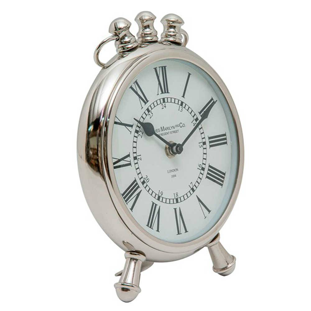 Relógio de Mesa Marilyn Cromado em Metal - 22x18 cm