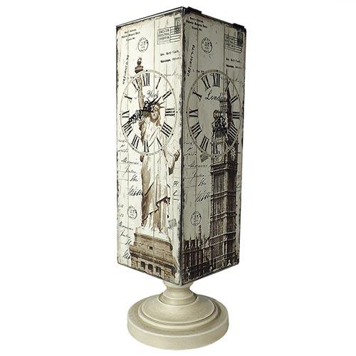 Relógio de Mesa Mundial Giratório 4 Faces Oldway - Em MDF - 60X18 cm