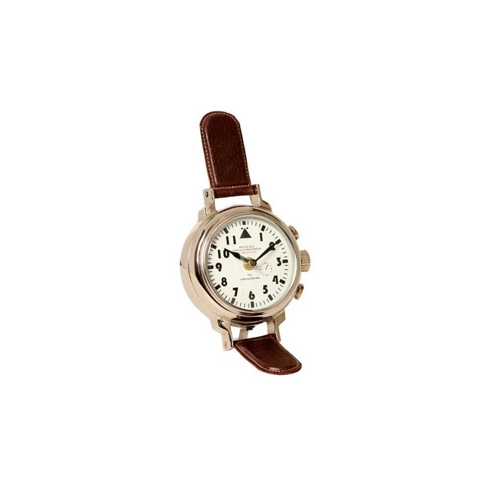 Relógio de Mesa Nuremberg em Metal com Banho de Níquel e Couro - 34x14 cm