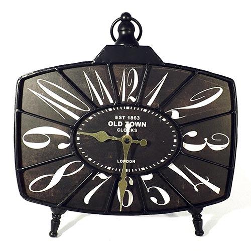 Relógio de Mesa Oldtown Oldway - Em Madeira e Metal - 34x30 cm