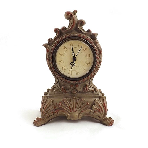 Relógio de Mesa Ornamental - Em Cerâmica e Vidro - 12,5x17,5 cm