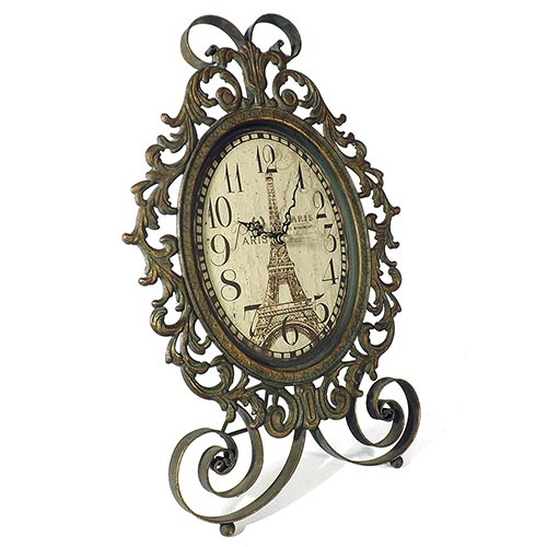 Relógio de Mesa Oval Arabescos Eiffel Tower Oldway - Metal - 42x30 cm
