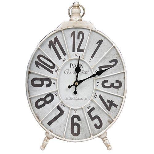 Relógio de Mesa Paris Branco Oldway - Madeira e Metal - 39x25 cm