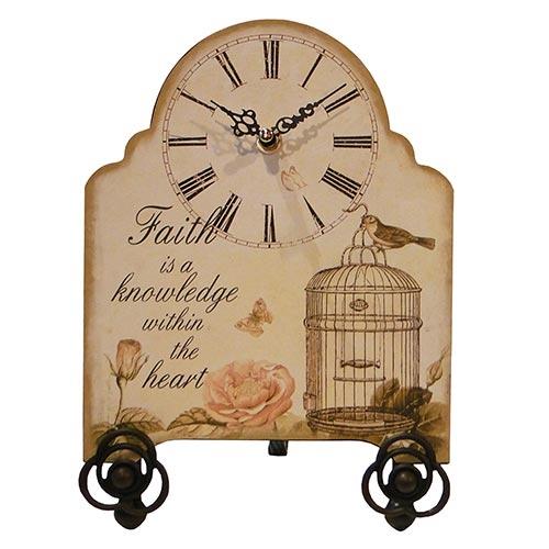Relógio de Mesa Pássaro Gaiola Oldway - Metal - 29x20 cm