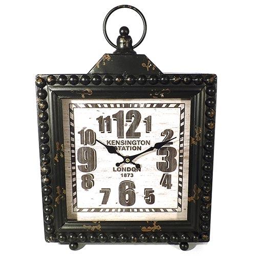 Relógio de Mesa Quadrado Kensington Station Oldway - Metal - 42x30 cm