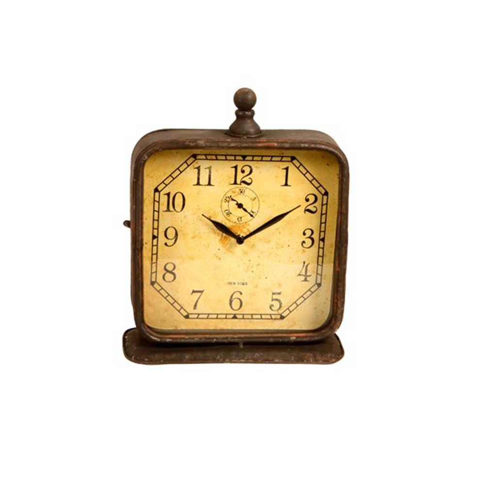 Relógio de Mesa Quadrado Marrom Envelhecido em Metal - 35x29 cm