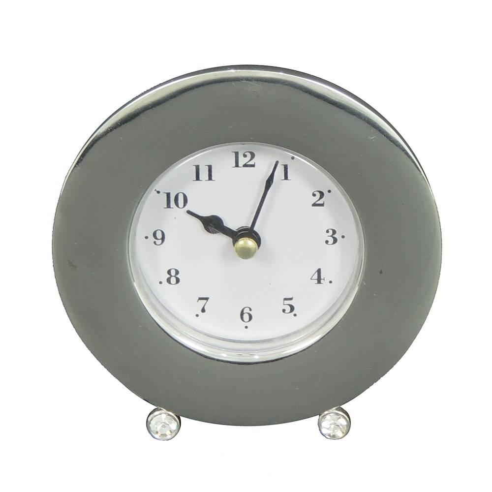 Relógio de Mesa Redondo Prata em Metal - 12x10 cm
