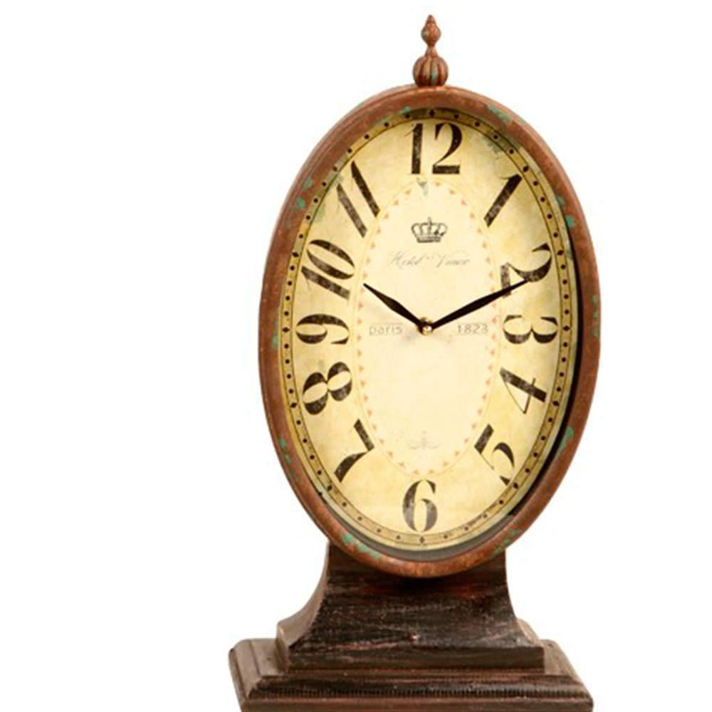 Relógio de Mesa Retrô Marrom Pátina em Metal - 44x23 cm