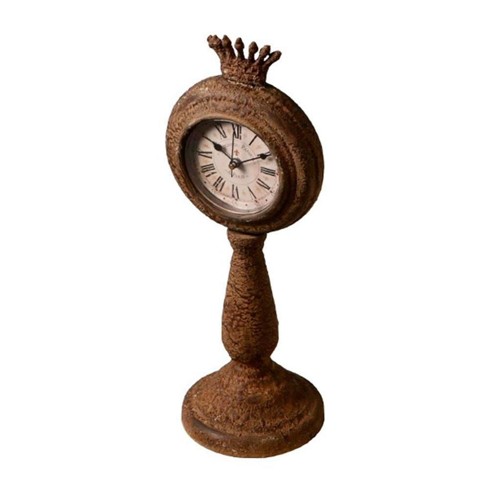 Relógio de Mesa Royal Marrom Envelhecido em Metal - 34x16 cm