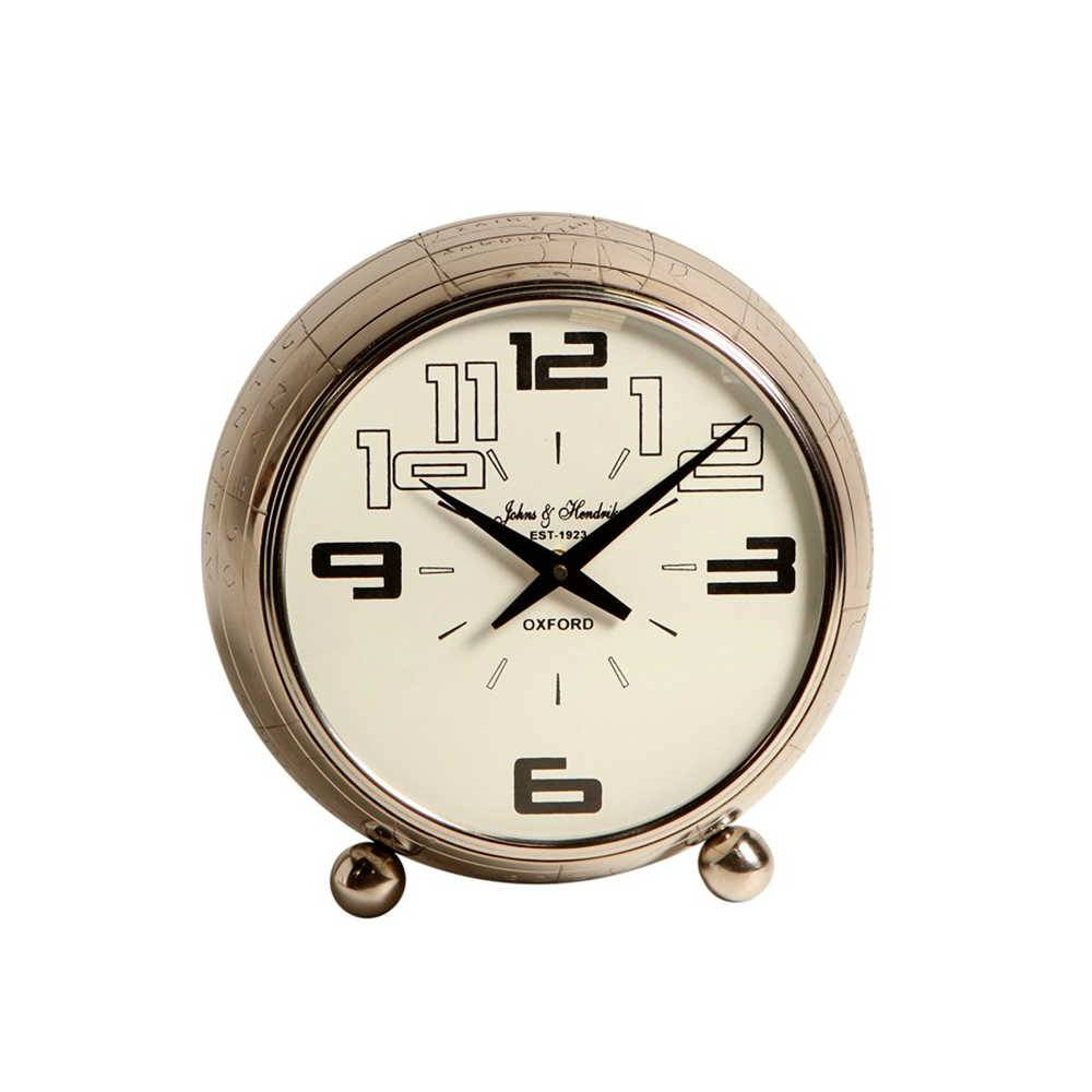 Relógio de Mesa Spatiale em Metal com Banho de Niquel - 26x23 cm