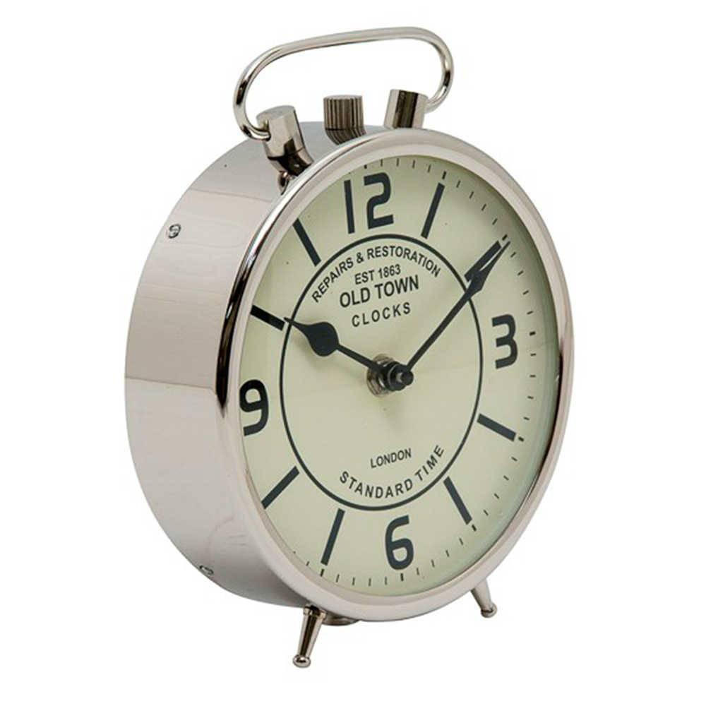 Relógio de Mesa Standard Time Cromado em Metal - 20x16 cm