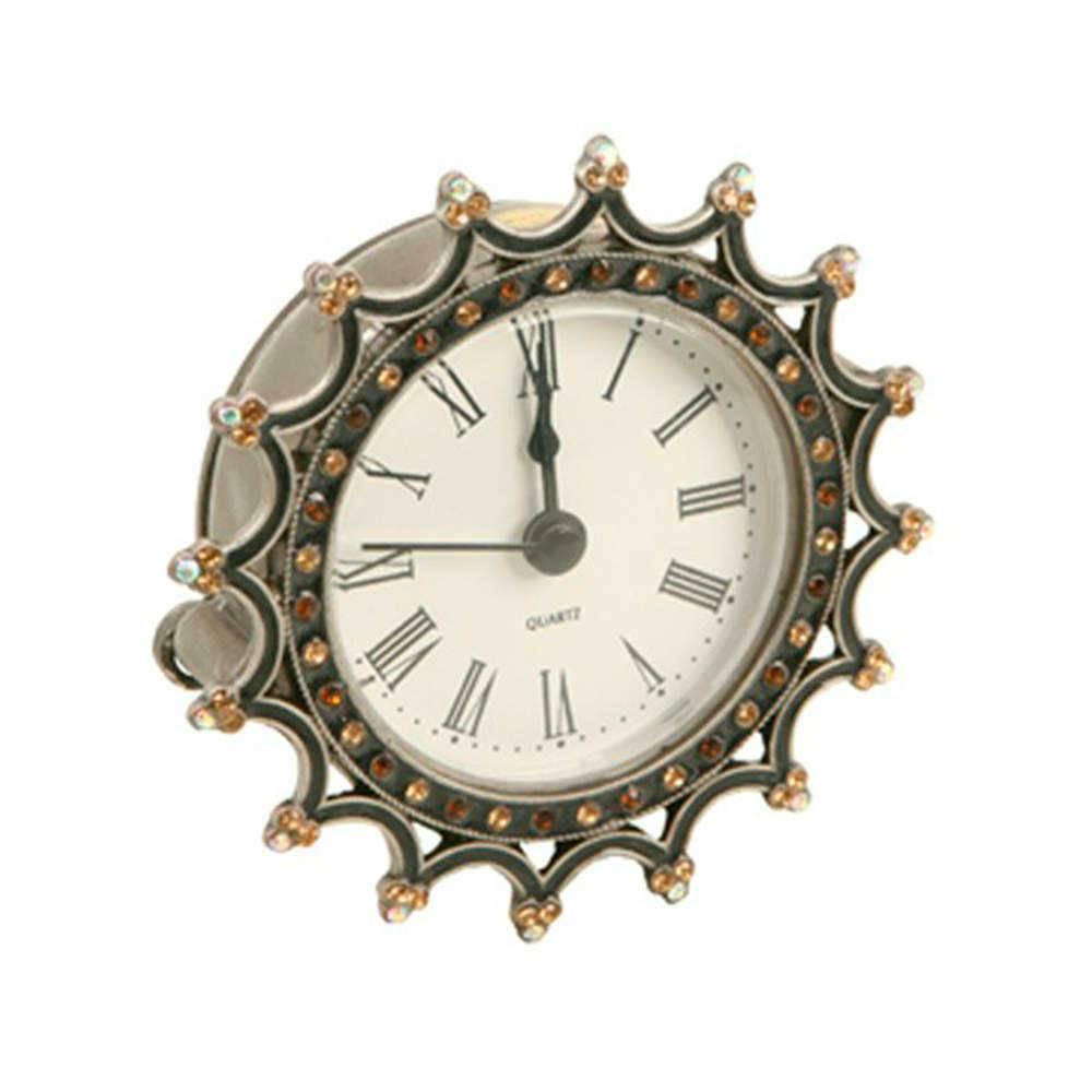 Relógio de Mesa Tendence em Metal e Resina com Aplicação de Pedrarias - 9x9 cm
