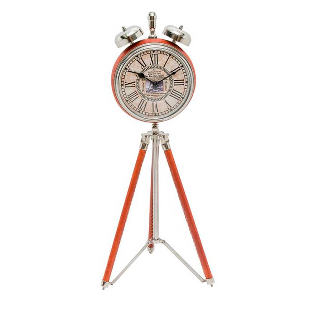 Relógio de Mesa com Tripé Laranja em Couro Natural e Metal Cromado - 60x25 cm