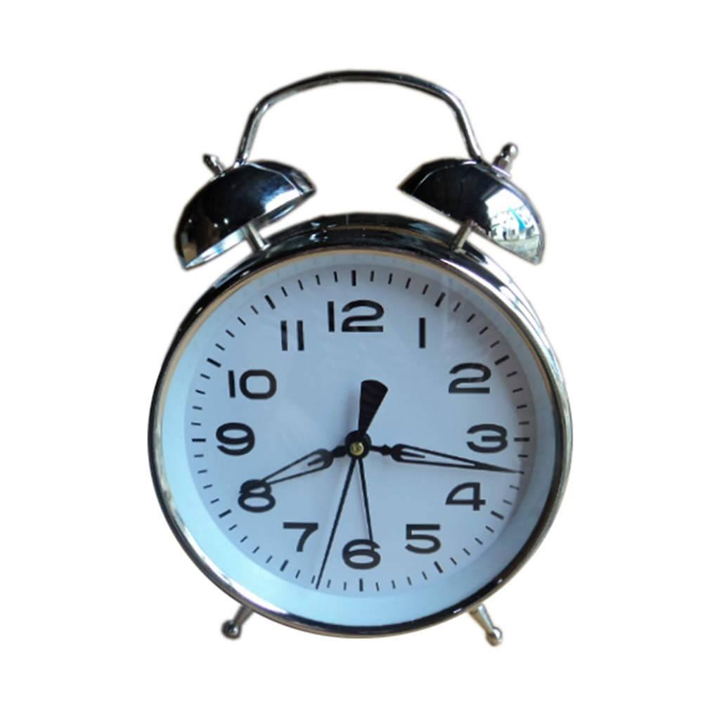 Relógio de Mesa Twin Bell Branco Médio em Metal - Urban - 20x15 cm