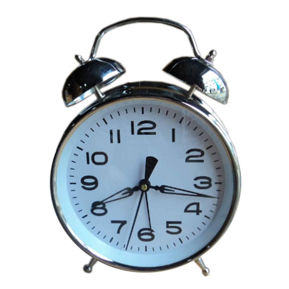 Relógio de Mesa Twin Bell Branco Pequeno em Metal - Urban - 16x11 cm