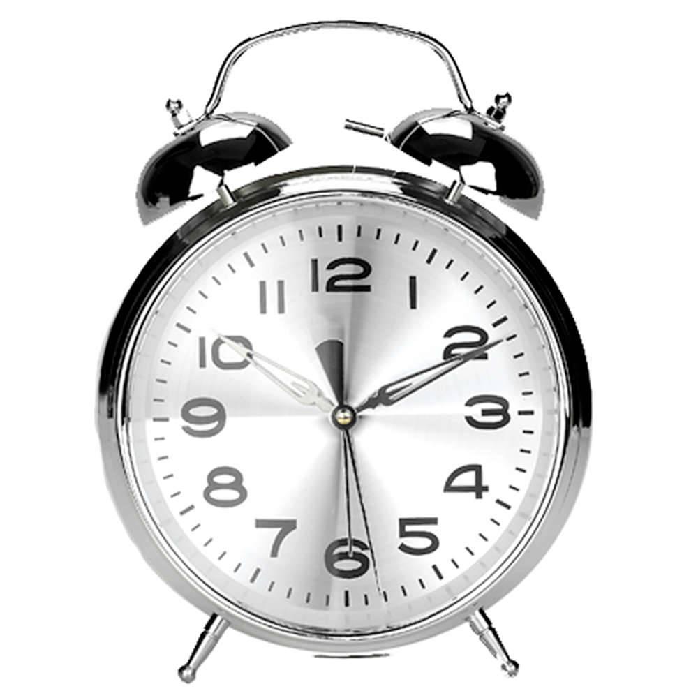 Relógio de Mesa Twin Bell Cromado Grande em Metal - Urban - 24x18,5 cm
