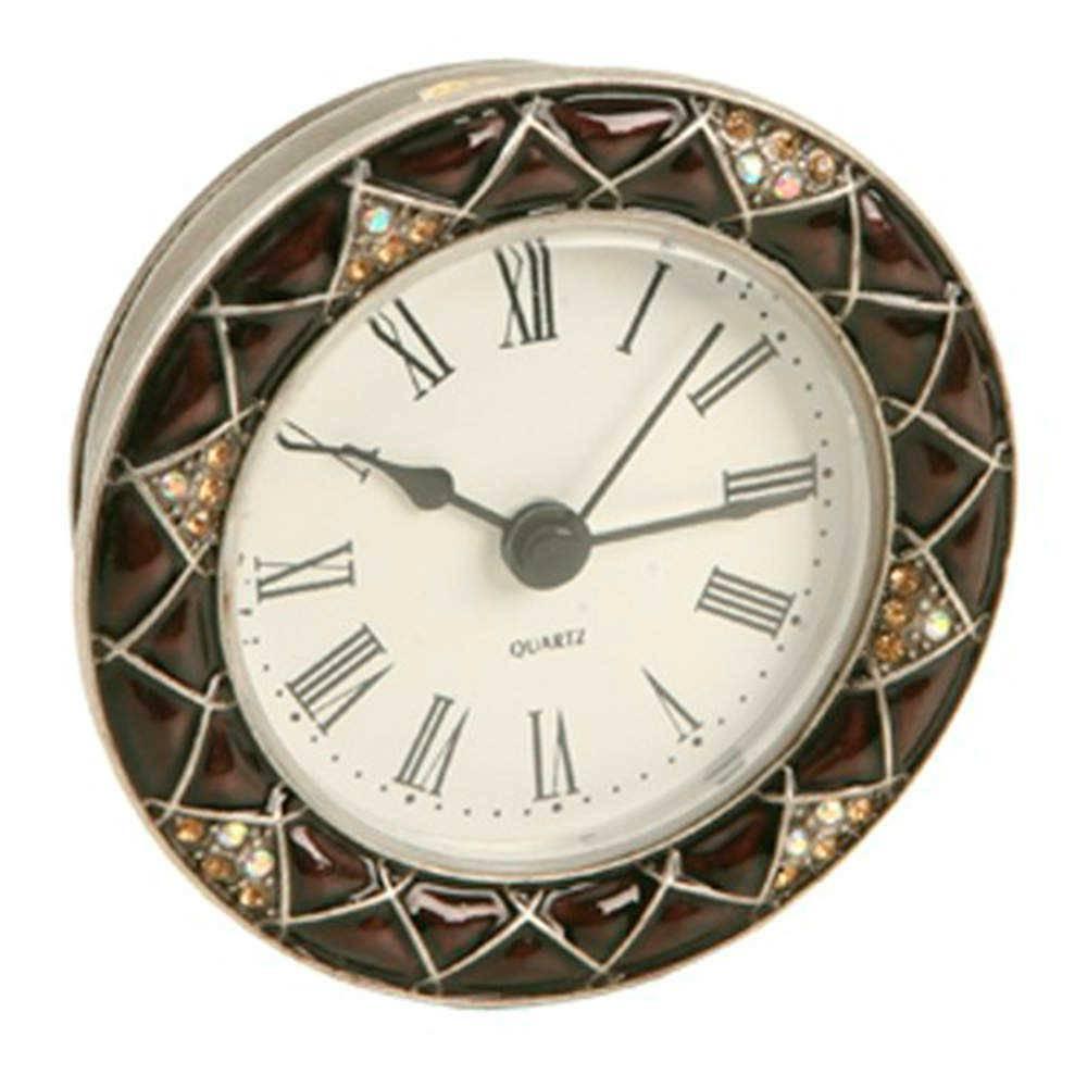Relógio de Mesa Venet em Metal e Resina com Aplicação de Pedrarias - 9x9 cm