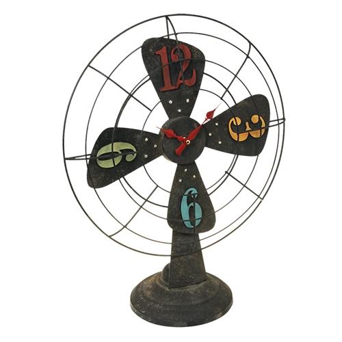 Relógio de Mesa Ventilador Colorido em Metal - 56x45 cm