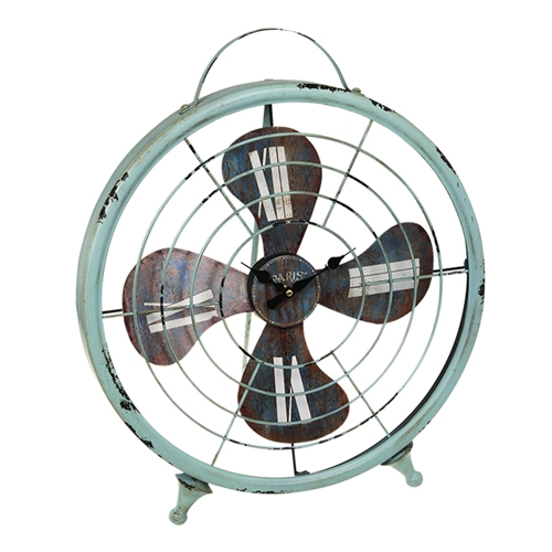 Relógio de Mesa Ventilador Grande em Metal - 55x44 cm
