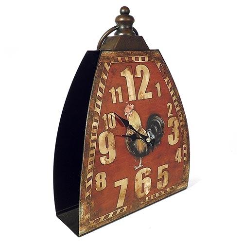 Relógio de Mesa Vermelho Galo Oldway - Metal - 32x23 cm