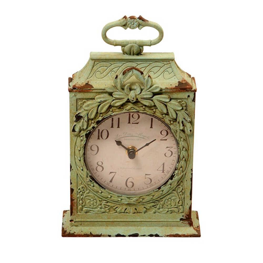 Relógio de Mesa Vieux Verde Pátina em Metal e Resina - 24x14 cm