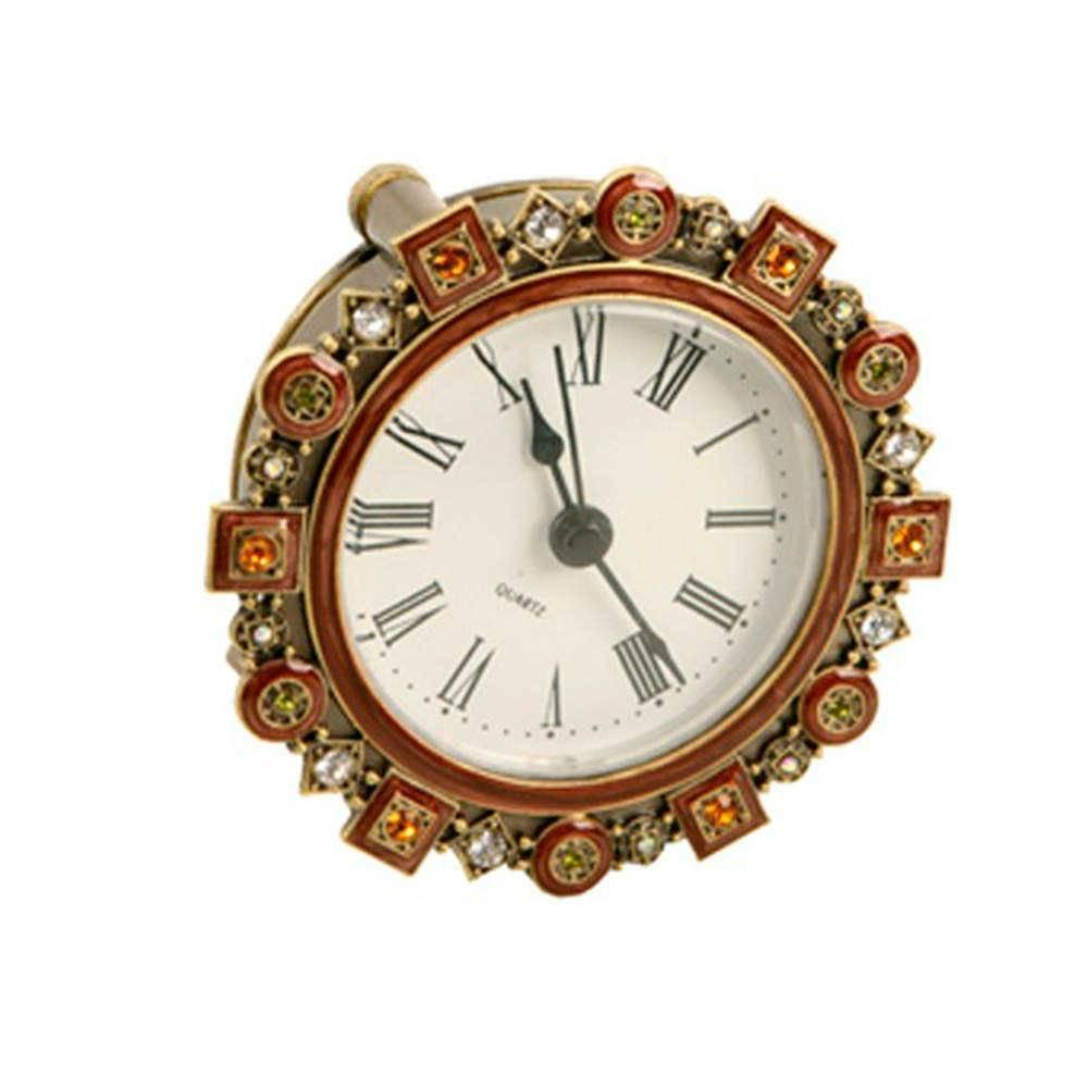 Relógio de Mesa Vivare em Metal e Resina com Aplicação de Pedrarias - 9,5x9,5 cm