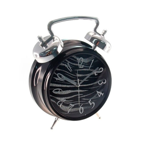 Relógio de Mesa Zebra/Purpurina - 25x19 cm