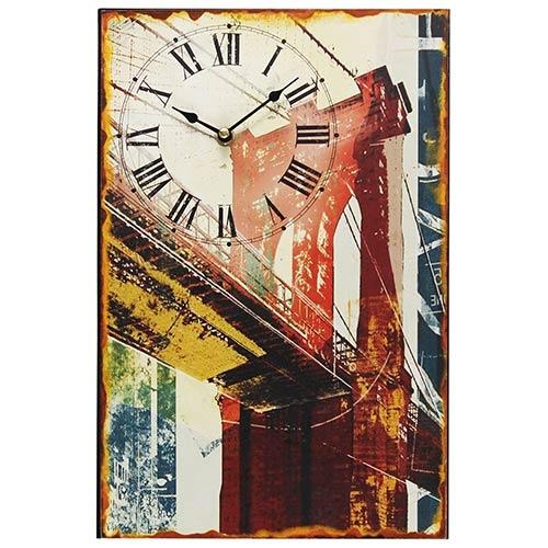Relógio Metal Números Romanos Ponte Londres Oldway - 38x26x2cm
