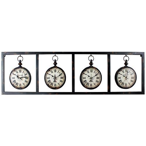 Relógio Mundial Ferro 4 Metrópoles Oldway - 37x132x4cm