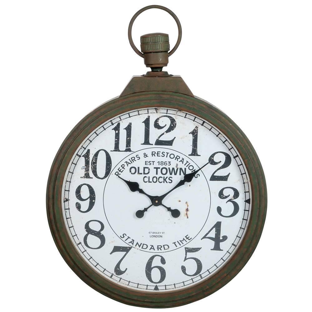 Relógio Old Town Marrom em Metal - 97,5x70 cm