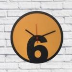 Relógio de Parede 6 Amarelo e Preto em MDF - 30x2 cm