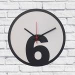 Relógio de Parede 6 Branco e Preto em MDF - 30x2 cm
