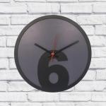 Relógio de Parede 6 Cinza e Preto em MDF - 30x2 cm
