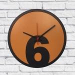 Relógio de Parede 6 Laranja e Preto em MDF - 30x2 cm