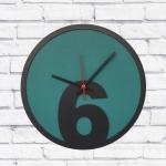 Relógio de Parede 6 Verde e Preto em MDF - 30x2 cm