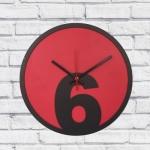 Relógio de Parede 6 Vermelho e Preto em MDF - 30x2 cm