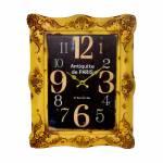 Relógio de Parede Amarelo Oldway em Metal - 48x38x6cm